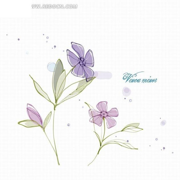 免费素材 矢量素材 花纹边框 花纹花边 可爱手绘紫色花朵花纹插画设计