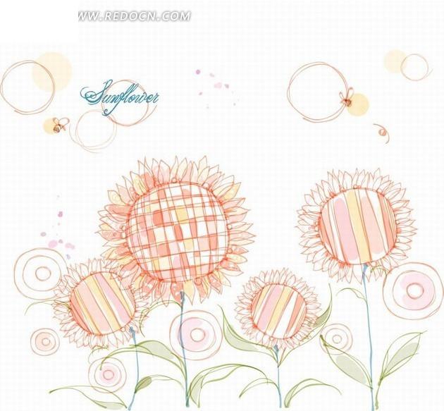 花卉插画手绘缤纷的向日葵和蜜蜂