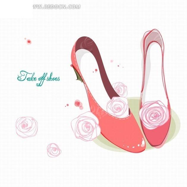 粉色花朵和红色高跟鞋插画设计ai免费下载_花纹花边