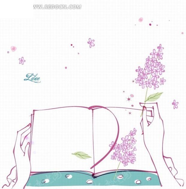 花卉插画手绘书本和女性双手的紫丁香