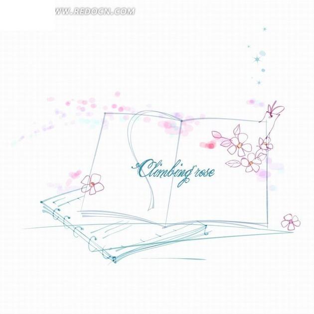 手绘花朵和打开的书本矢量图免费下载
