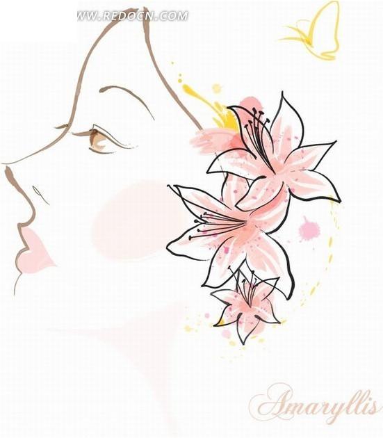 免费素材 矢量素材 花纹边框 花纹花边 花卉插画手绘美女容貌的桂顶
