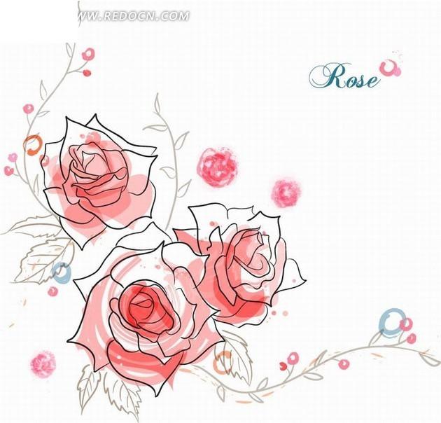 花卉插画手绘藤蔓叶子上的红玫瑰矢量图