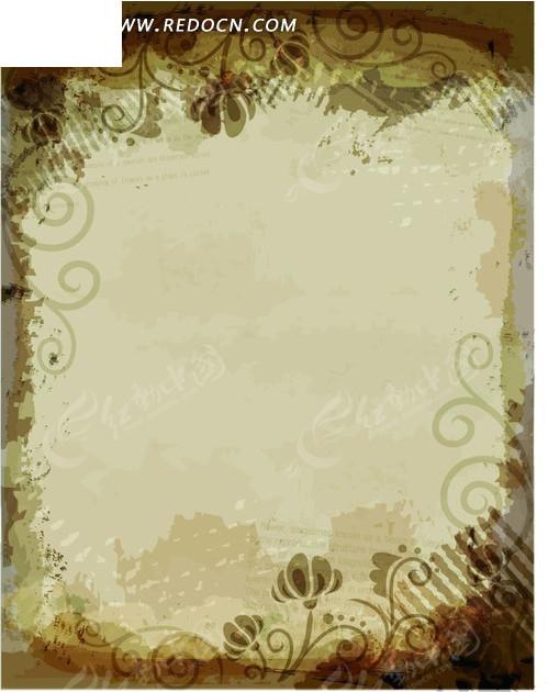 绿色背景上的手绘花纹和棕绿色花朵