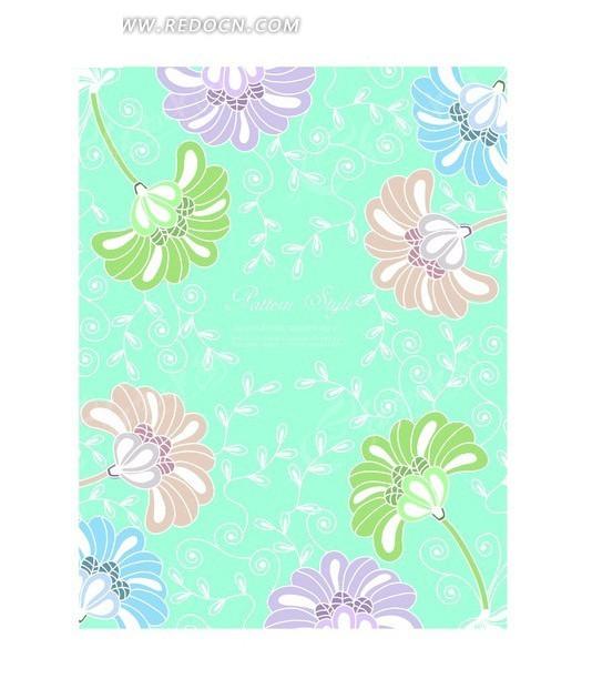 彩色花朵卷草花纹蓝色背景设计
