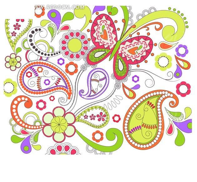 手绘底纹—白色背景上的精美花朵枝条蝴蝶和鱼形花纹