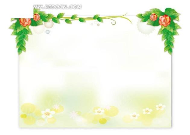 矩形纸张上的插画花朵和绿叶枝条图片