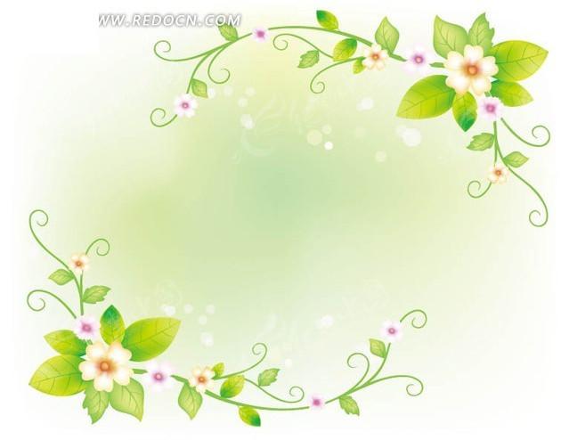 精美花朵绿叶藤蔓花纹背景设计