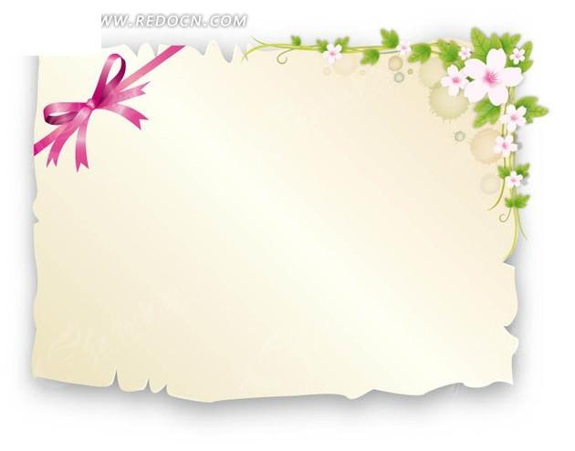 花朵叶子蝴蝶结装饰边框背景矢量图EPS免费下载 边框相框素材