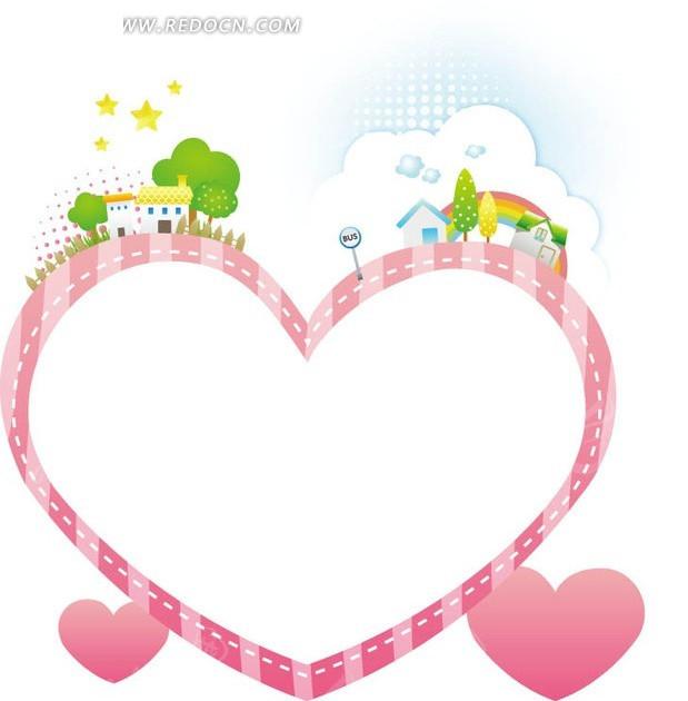 卡通边框—装饰着绿树房屋和五角星的粉色心形边框图片