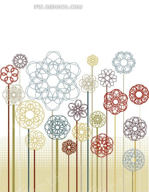 手绘彩色创意花朵底纹背景设计ai免费下载_印花图案