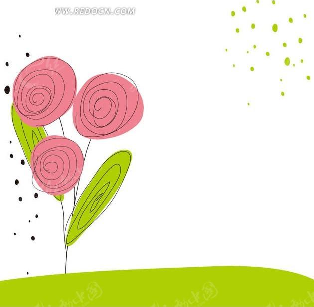 手绘可爱圆圈花朵底纹背景