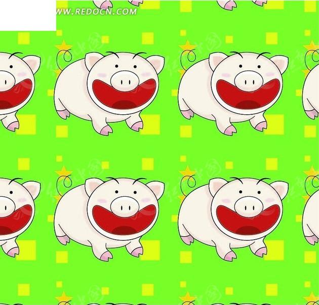 动物底纹—方形和猪构成的图案