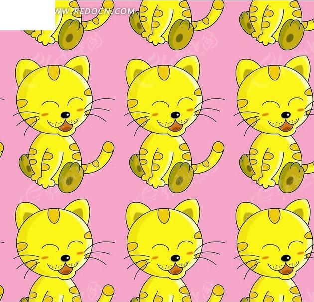 开心可爱 小猫咪底纹背景设计