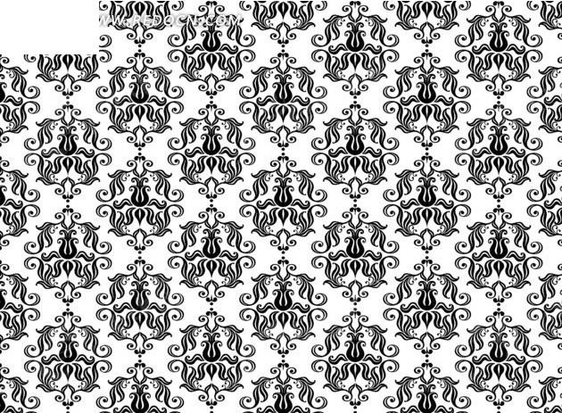 欧式黑白花纹底纹背景图片