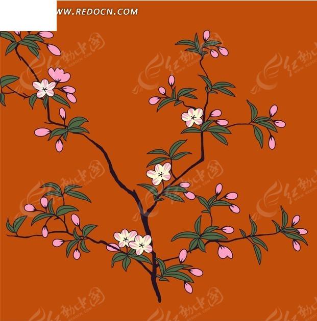 手绘桃花树枝花纹橘色背景设计