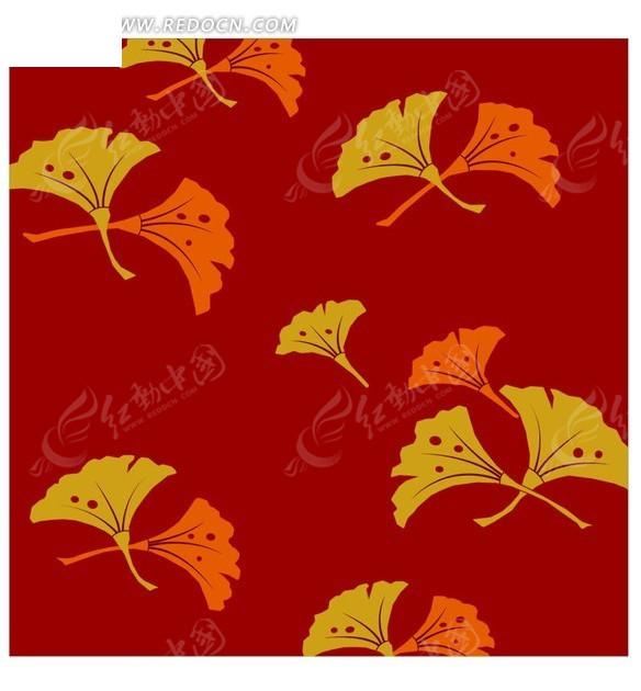 色背景上的插画银杏叶矢量图 -红色背景上的插画银杏叶