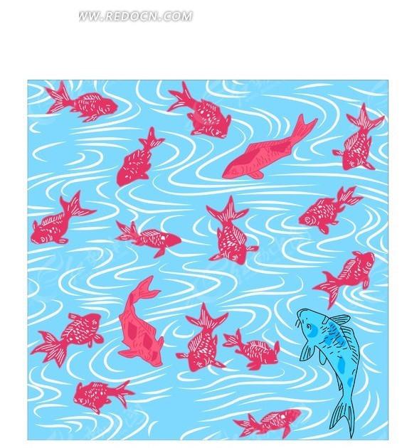 手绘插画蓝色湖泊上的一片红金鱼和灰鲤鱼