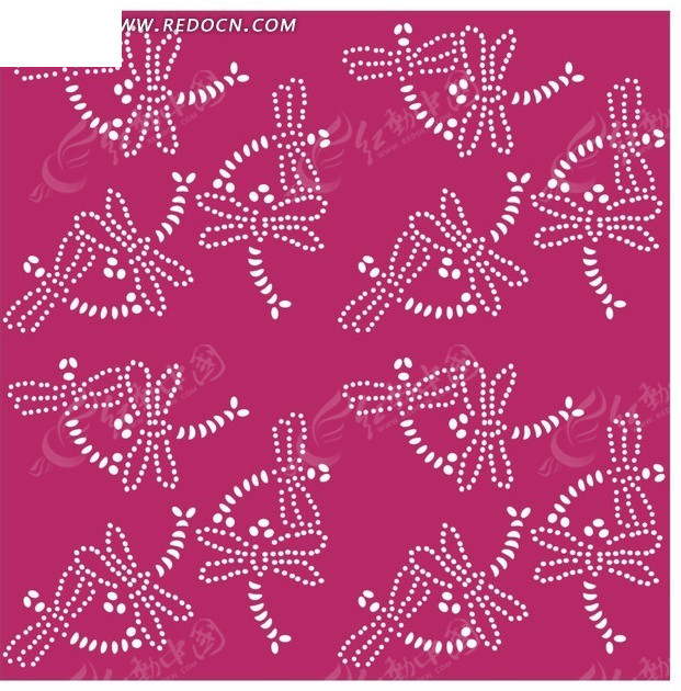 昆虫插画 圆珠点 飞舞 蜻蜓  印花图案 矢量素材