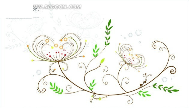 手绘细长枝条上的叶子和心形花朵