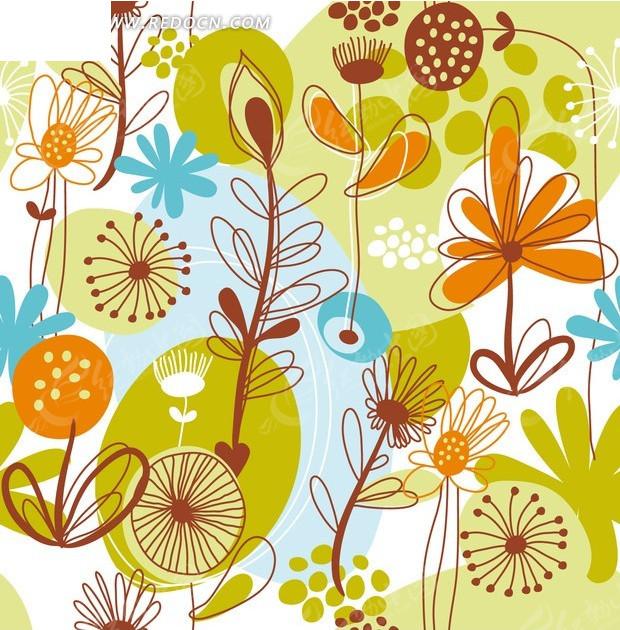 白色背景上的手绘枝条和花朵以及椭圆形