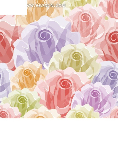 彩色玫瑰花构成的图案