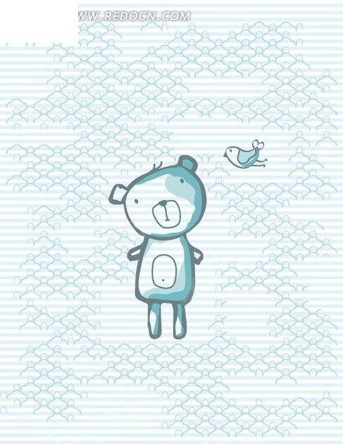 卡通动物插画小鸟和站立的小熊