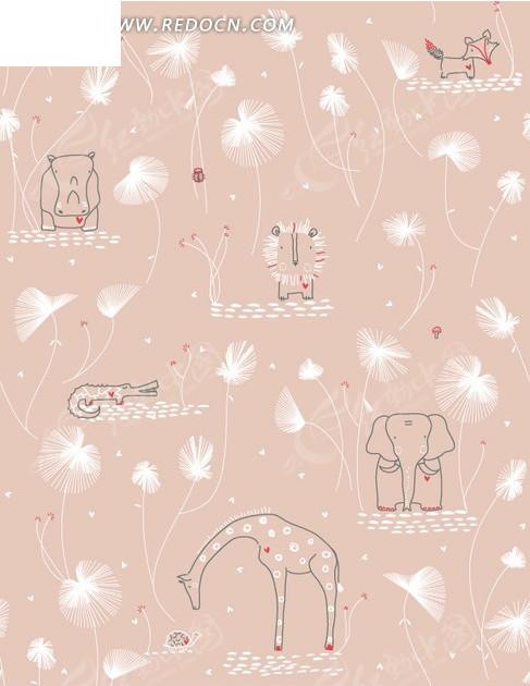 卡通插画背景缤纷蒲公英的粉红动物园