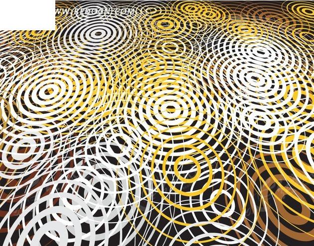 手绘插画金色的一圈圈水波波纹