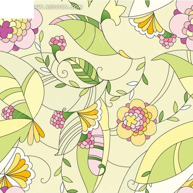手绘叶子和美丽花朵构成的图案