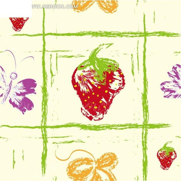 免费素材 矢量素材 花纹边框 底纹背景 手绘绿色格子和草莓以及蝴蝶