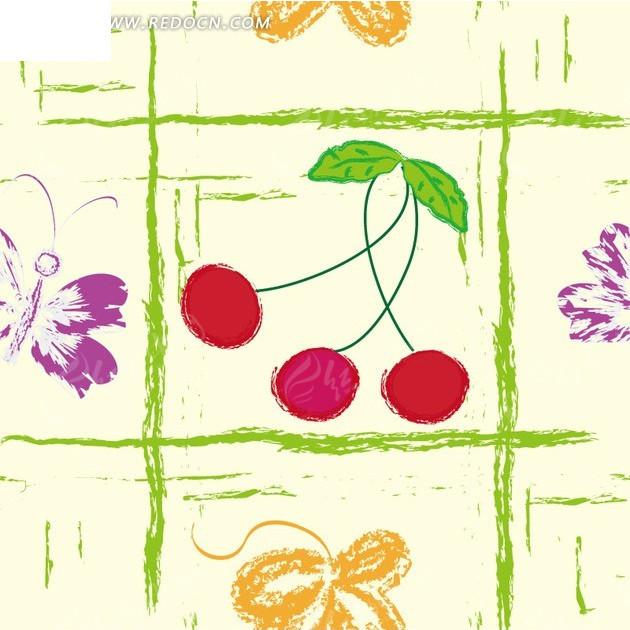 水果插画手绘九宫格 的红樱桃