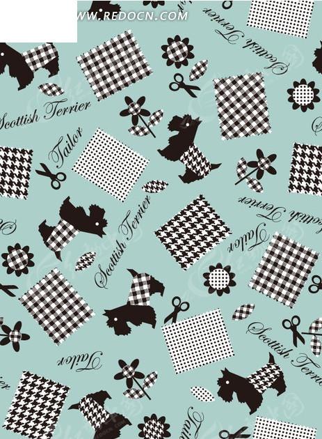 格子桌布和狗以及剪刀和花朵构成的图案EPS素材免费下载 编号