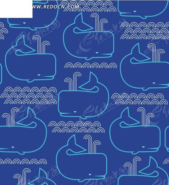 蓝色背景前喷水的鲸鱼构成的图案