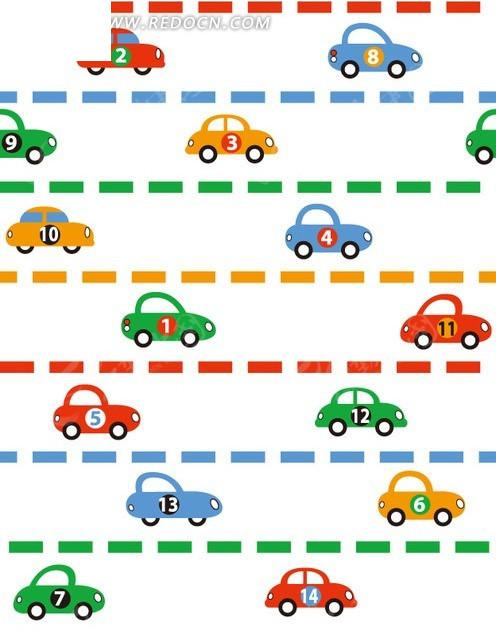 卡通背景素材—彩色虚线和小汽车矢量图; 底纹背景; 小汽车与矩形