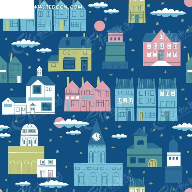 蓝色背景上可爱小楼房底纹背景设计