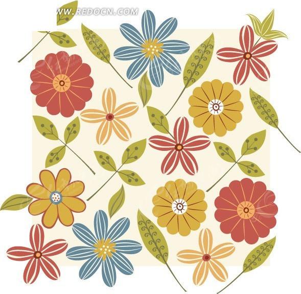 可爱手绘花朵绿叶底纹背景