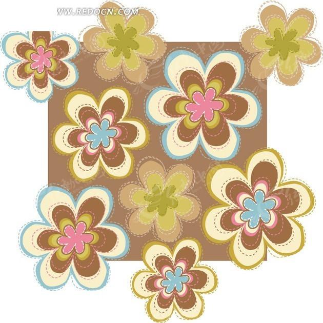 咖啡色矩形上的手绘漂亮花朵