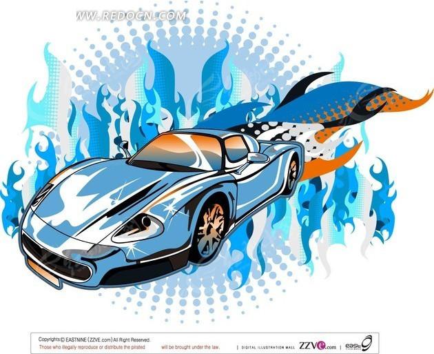 蓝色火焰前的蓝色汽车插画