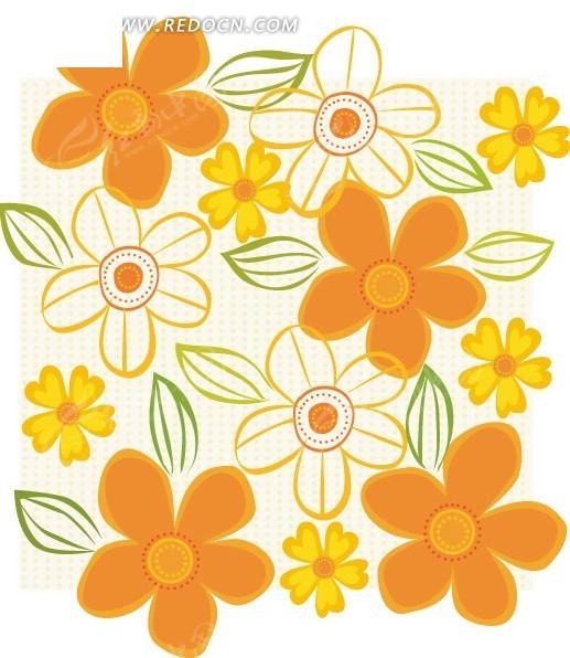 手绘橙色花朵底纹背景设计