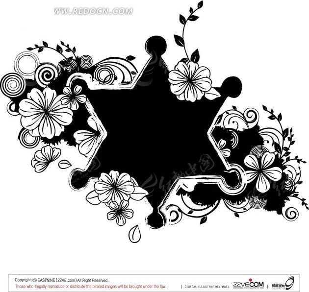 线描花朵和枝条装饰的黑色六边形AI素材免费下载 编号1901768 红动网
