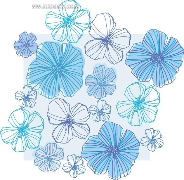 蓝色线描花朵底纹背景设计