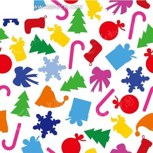 圣诞袜圣诞帽圣诞树礼物盒雪花构成的图案