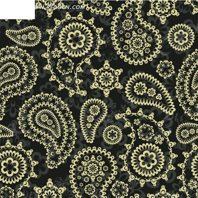 花朵和黄色鱼形花纹构成的图案图片