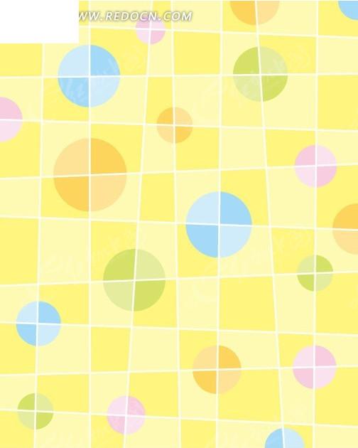 黄色格子背景 圆形 图案 平铺 底纹 背景素材 矢量素材