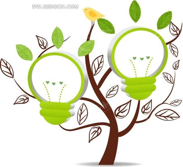 插画树木上的绿色立体灯泡矢量图