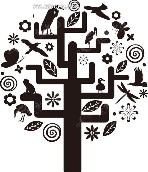 创意树上的小鸟猴子螺旋纹叶子矢量图