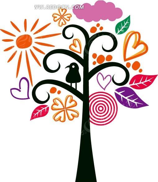手绘彩色花纹和黑色大树杆底纹设