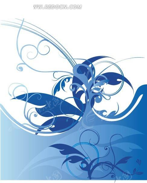 蓝色和浅蓝色枝条以及叶子插画