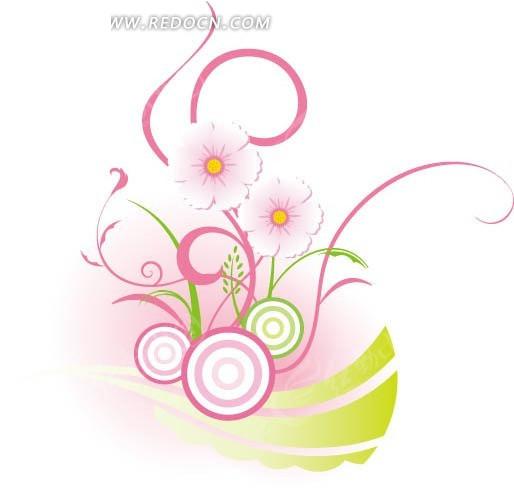 粉色花朵小草和圆圈花纹背景设计